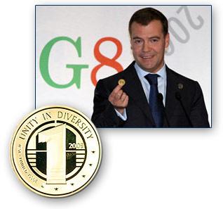 Presiden Rusia pada pertemuan G8 tahun 2009 menyerukan dunia untuk kembali ke real money yang bebas manipulasi: emas.