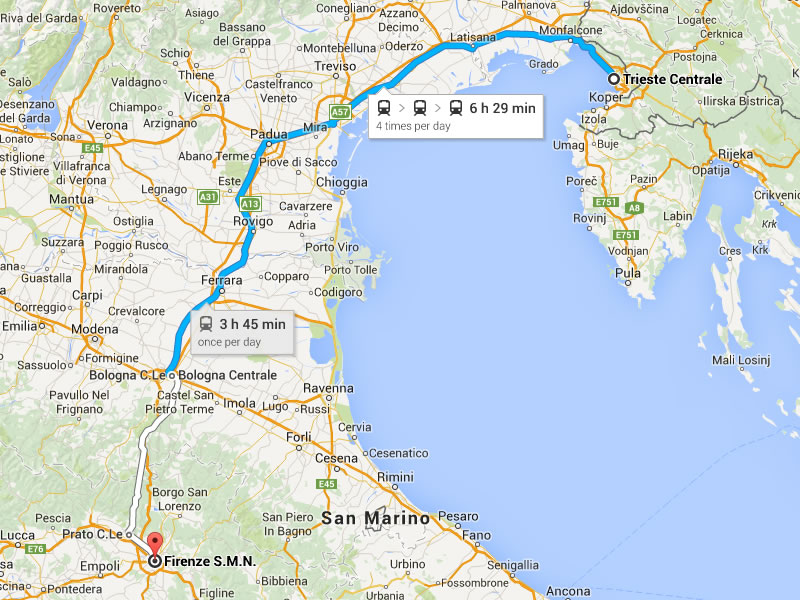 Trieste-Florence (~400 km, 4 hours)