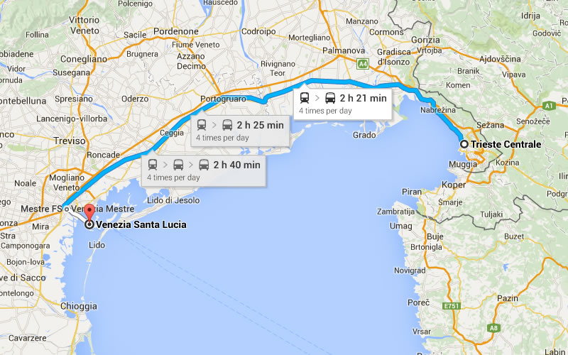 Trieste-Venezia by Train (~150 km, 2 hours)